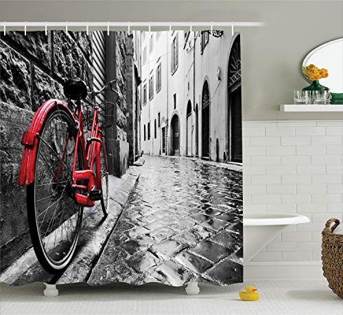 Ambesonne Bicycle Decor Collection, Classic Bike on Cobblestone Street in Italian Town Leisure Charm Artistic Photo, Polyester Fabric Bathroom Shower Curtain, 84 Inches Extra Long, Red Black and White ()
