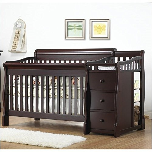 Pemberly Row 4-in-1 Convertible Crib and Changer Set in Espresso (Tuscany Crib And Changer)