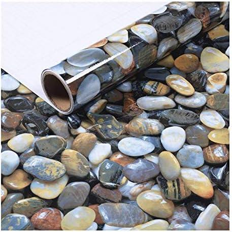 壁紙 レンガ 防音シート 防水 壁紙 断熱 DIYクッション シール シート立体 壁用 壁紙 はがせ 3D石畳自己接着グロスビニールラップフィルムキッチンカウンターピールスティックデカール壁紙24''x79「」(石畳) (Color : Cobblestone)