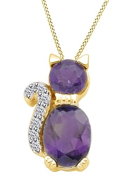8633ef239617 AFFY Plata de ley (925 1000) Plata chapada en oro amarillo de 18 K talla  ovalada violeta diamante blanco amatista  Amazon.es  Joyería