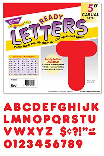 """TREND enterprises, Inc. Red 5"""" Casual Uppercase Ready Letters -  T-79102"""