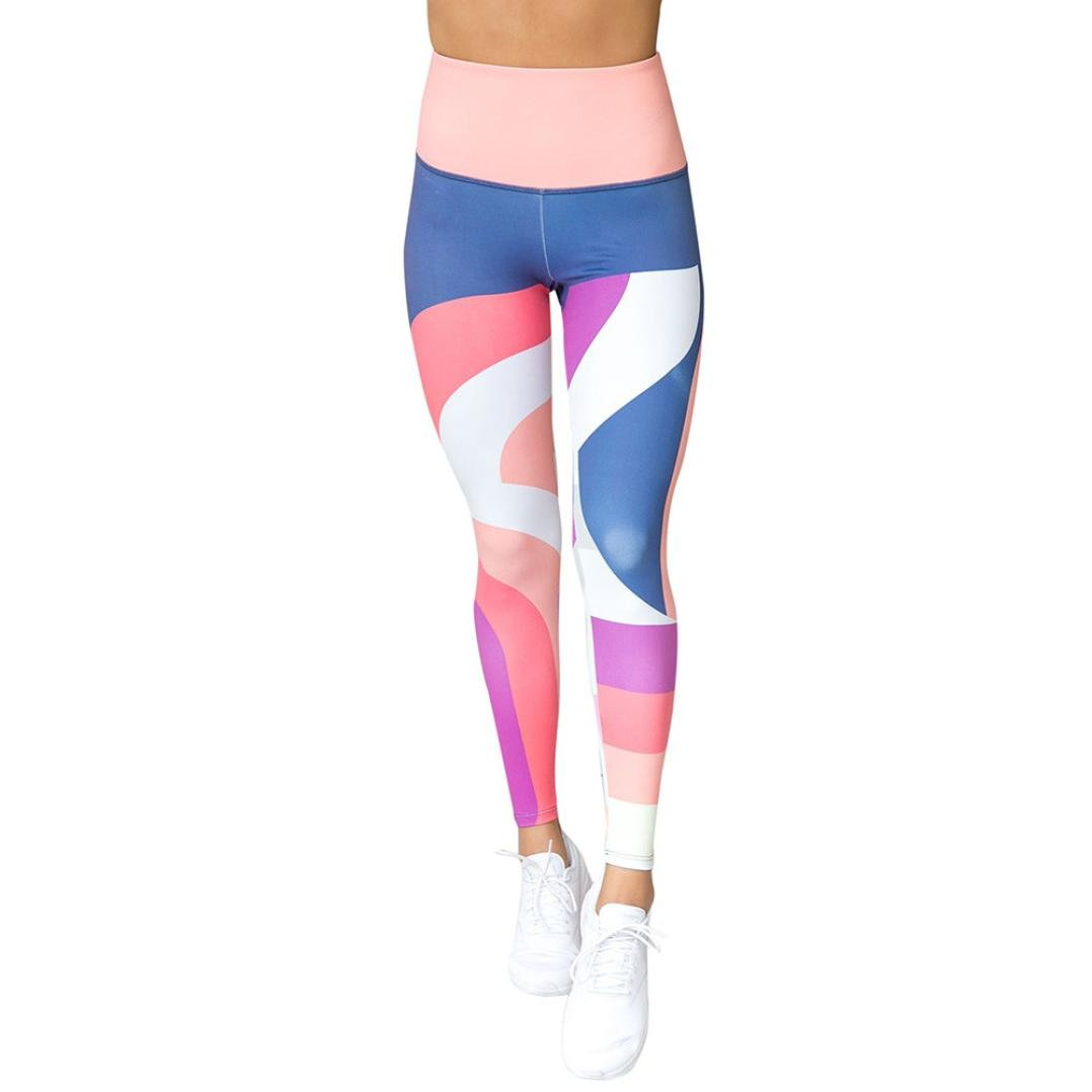 CSSD Women Multicolor Yoga Pants, Digital Print High Waist Sports Gym Running Athletic Trouser Fitness Leggings (S, Multicolor)