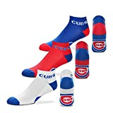 For Bare Feet $100 Money No-Show Ankle Socks 3 Pack Youth Size 13, 1-5 (Approx. 4-8 years old) - Chicago Cubs