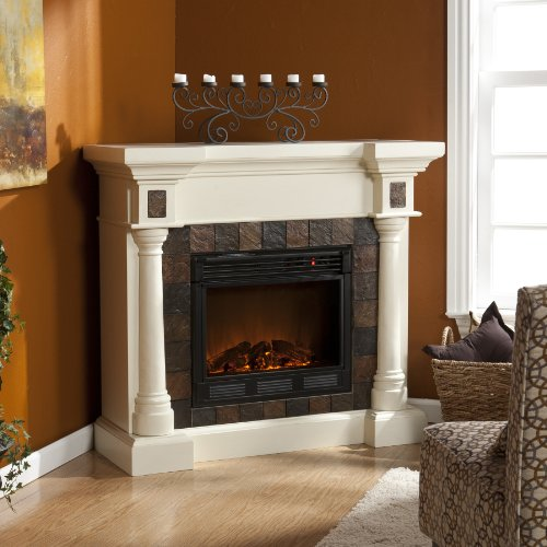 Carrington Faux Slate Convertible Electric Fireplace - Ivor
