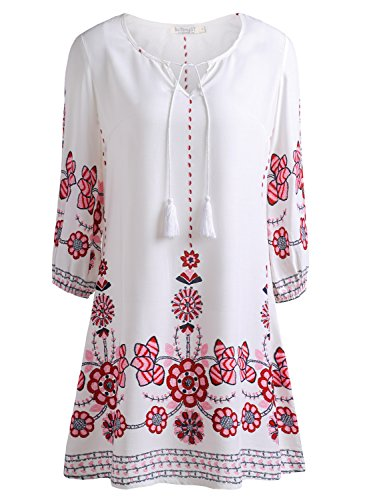 baishenggt-womens-tied-v-neck-ethnic-printed-casual-mini-dress-x-large-white-floral