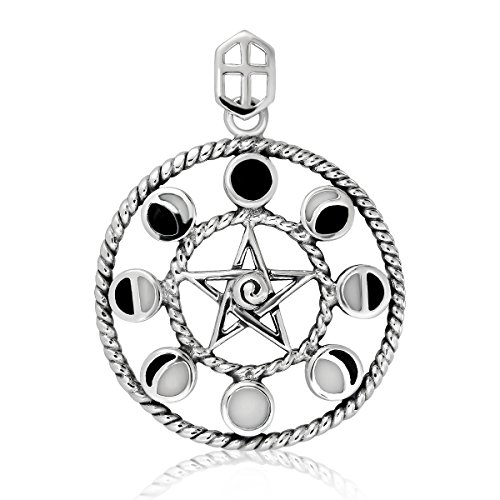 WithLoveSilver Solid 925 Sterling Silver Enamel Moon Phase and Star Pentacle Pendant