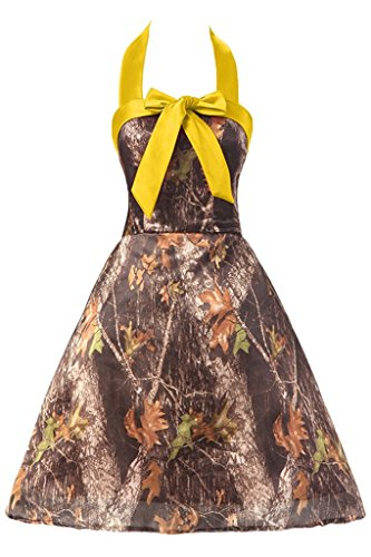 Gown Evening Camo Dress Mini AN123 Anlin Halter Bridesmaid Party CAMO Homecoming Dress amp;yellow wwZCX0