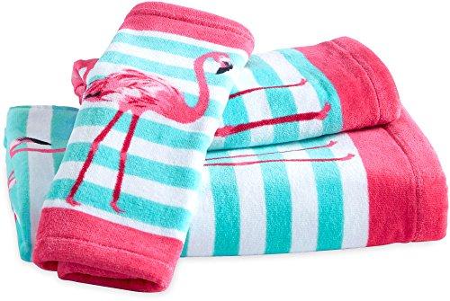 CHF Flamingo Print Bath Towel Collection Wash Cloth Blue