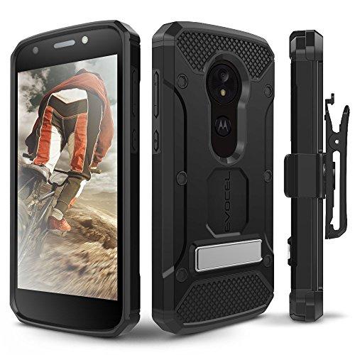 Moto E5 Play / E5 Cruise Case, Evocel [Explorer Series Pro] Premium Full Body Case with Glass Screen Protector, Belt Clip, Metal Kickstand for Motorola Moto E5 Cruise/Moto E5 Play, Black