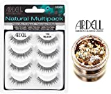 Ardell NATURAL MULTIPACK, 110 Black, Contains 4 Pair of Eye Lashes (with bonus Skin/Hair GLITTER) (110 Black)