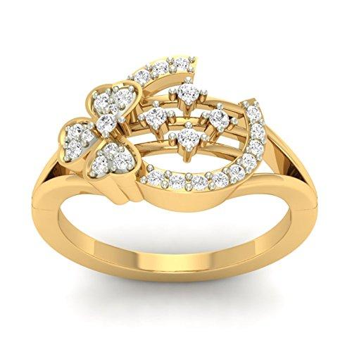 18K Or jaune 0.24CT TW Round-cut-diamond (IJ   SI) en diamant