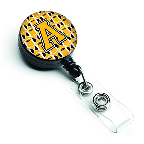 Caroline's Treasures CJ1080-ABR Letter A Football Black, Old Gold & White Retractable Badge Reel, Multicolor