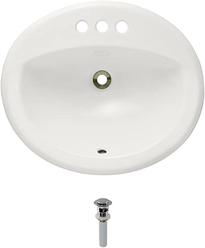 O2018-Bisque Overmount Porcelain Bathroom Sink Ensemble, Chrome Pop-Up Drain