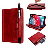 Cover Case for iPad Pro 11 Case 2018 with Pen Holder Card Holder,Screen Protective Luxury Folio Case Stand Smart Tablet Case Cover for 11 inch iPad Pro 2018 for Women(without Pen Slot Charging)-Red