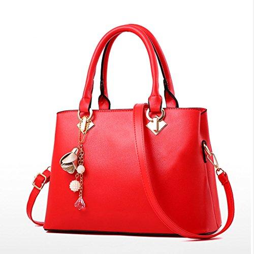 bolso Versión coreana asesina moda de primavera y verano con bolsillos tridimensionales de cuero de la PU de bolsillo con cremallera Rojo