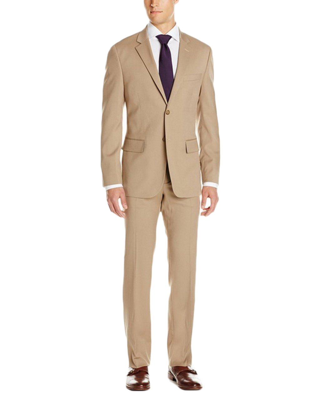 Love Dress Men's Two-Piece Classic Fit Suit with Two-Button Side Vent Jacket and Pant Tan 5XL