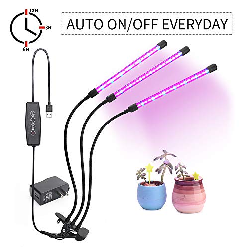 USB Plant Grow Light, Desk Clamp Grow Lamp for Indoor Plants with Auto On/Off Function, Red & Blue Spectrum, 3 Tube Head Divide Control Adjustable Gooseneck, 3/6/12H Timer,6 Dimmable Levels (27W)