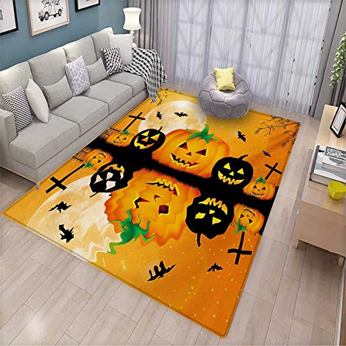 Halloween Bath Mats Carpet Spooky Carved Halloween Jack o Lantern and Full Moon with Bats and Grave Lake Door Mats for Inside Non Slip Backing 4'7