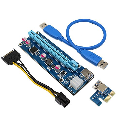 Loop Powered Meter (Dr.meter 1-Pack VER 006 PCI-E 16x to 1x Powered Riser Adapter Card w/ 60cm USB 3.0 Extension Cable & MOLEX to SATA Power Cable - GPU Riser Adapter)