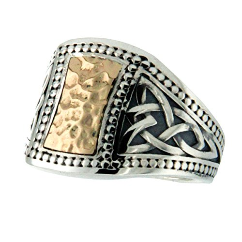 Celtic Gold Shield Trinity Knot Silver Mens Ring By Keith Jack-Size 11