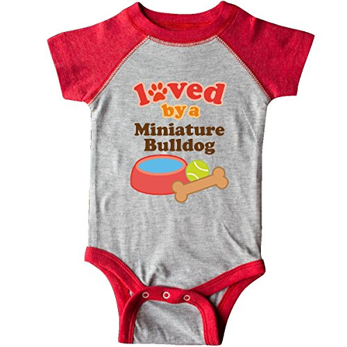 1129 Miniature - Inktastic Unisex Baby Miniature Bulldog Lover Infant Creeper 24 Months Heather and Red