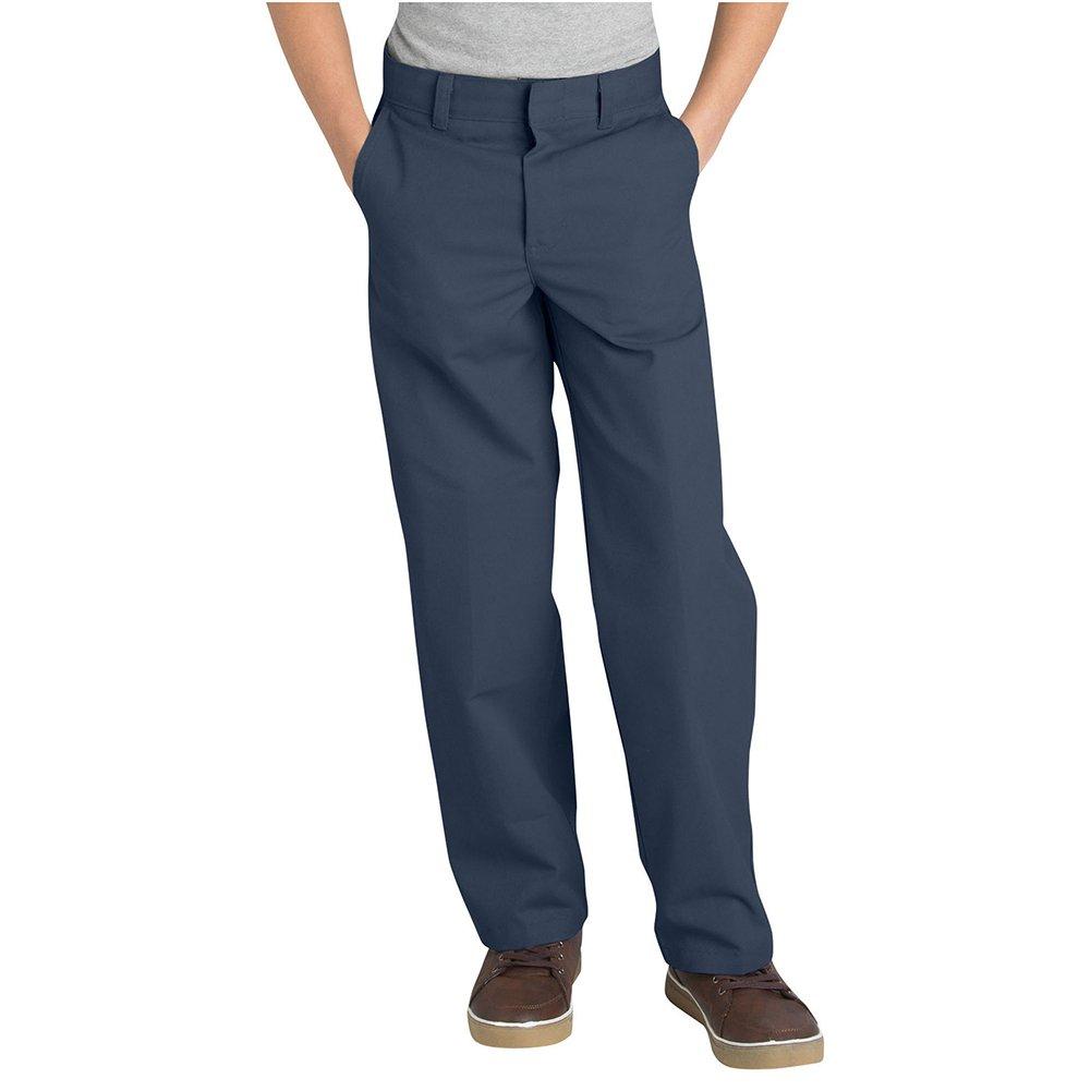 Dickies Boy's Classic Fit Straight Leg Flat Front Pants, Dark Navy, 8 Slim
