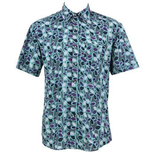 Loud Originals Regular Fit Hemd mit kurzen Ärmeln - blau & Grau Abstrakt Blätter