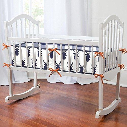 Carousel Designs Navy Deer Woodland Cradle Bumper