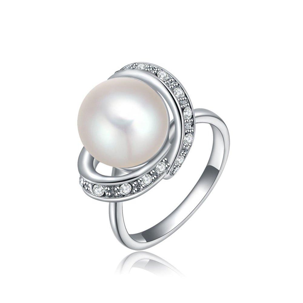 Winter.Z Noble and Elegant Ladies Jewelry Popular Platinum Pearl Diamond Ring Wedding 2010581090