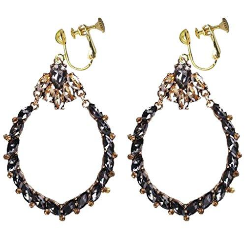 - Fashion Black Crystal Oval Teardrop Clip on Dangle Earrings Birthstone Prom Dress Up for Girls Women