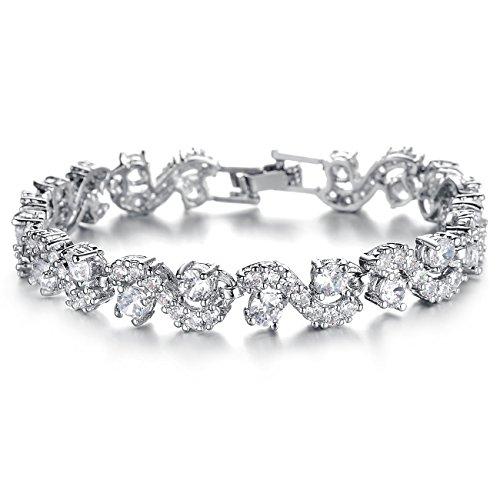 (Herinos Women Platinum Plated Cubic Zirconia Tennis Bracelets Wedding Bridal Crystal Bangle White 17CM)