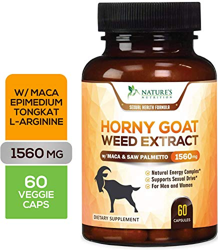 Horny Goat Weed Premium Extract for Men & Women 1560mg with Maca - 1000mg Epimedium with Icariin, L-Arginine, Saw Palmetto, Tongkat Ali. Enhanced Energy, Stamina & Performance Complex - 60 Capsules