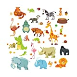 NiceButy Jungle Animal Wall Sticker Children's Room Safari Kindergarten Room Baby Home Decoration Poster Monkey Like Horse Wall Decal DIY Tools