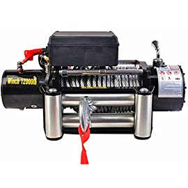 MXBAOHENG Electric Traction Winch SUV Winch 12V 12000lbs Windlass Overload Protect Remote