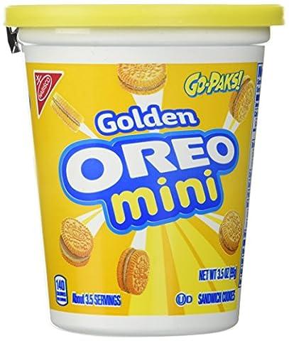 Oreo Mini Sandwich Cookies Bite Size Go-paks 3.5 Oz (Pack of 6) (Golden) (Bite Size Oreos)