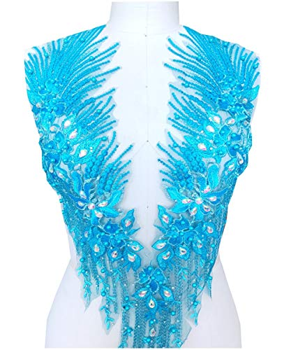 4colour Handmade Rhinestones Lace Applique Crystal Trimming Patches 6033cm for Dress Accessory
