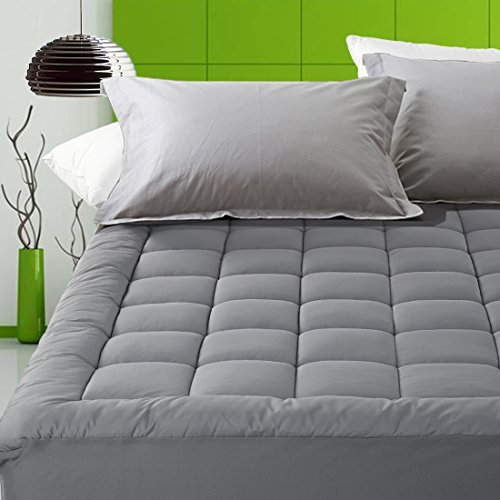 Price comparison product image Fitted Quilted Mattress Pad Cover Pillowtop 300TC Down Alternative Mattress Topper with 8-21-Inch Deep Pocket (Twin XL, Dark Gray)