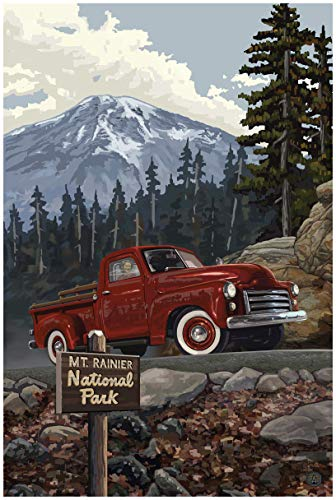 Mt. Rainier National Park Truck with Mountain Travel Art Print Poster by Paul A. Lanquist (24