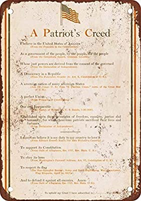 GMNJH 1918 War Stamps A Patriot39;s Creed Vintage Look Reproduction Metal Tin Sign 12X18 Inches