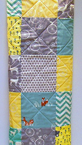 Baby Quilt, Gender Neutral, Aqua, Yellow, and Gray, Grey by Now and Then Quilts
