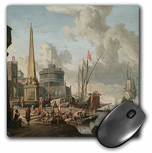 3dRose BLN Sailing Ships and Seascapes Fine Art Collection - A Fortified Mediterranean Port with an Obelisk and a Gally by Abraham Storck - MousePad (mp_126837_1)