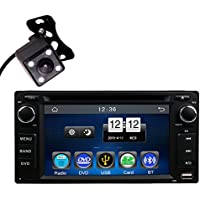 In Dash Car DVD Player MP3 MP4 Radio Bluetooth Kit 2Din Universal Head Unit Stereos with Reverse Camera for Toyota Corolla EX Rav4 Prado Camry VIOS Echo Land Cruiser by HitCar (Without GPS)