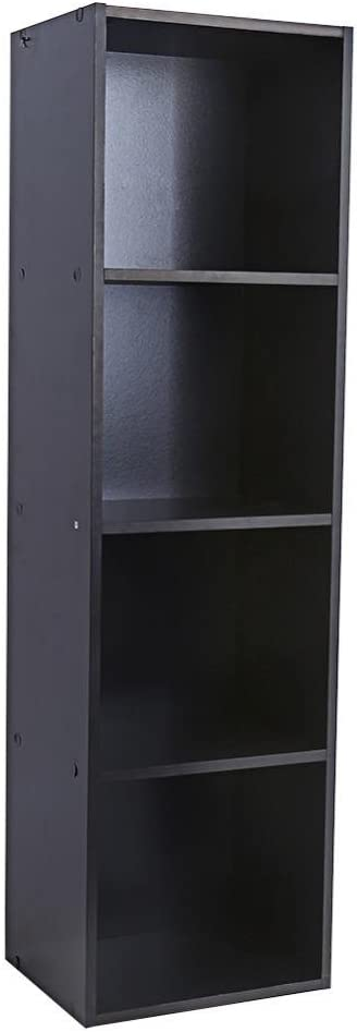 Yosoo Wood Display Shelf Storage Bookshelf 3 4 Tier Bookcase Stand Rack Cube Unit 4 Cubes, Black