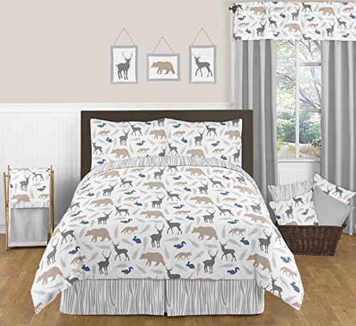 Sweet Jojo Designs Blue Grey and White Woodland Animals 3 Pi