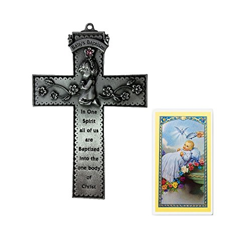 Inspire Nation Baby Girl Baptism Pewter Wall Cross and Baptismal Holy Card Set ()
