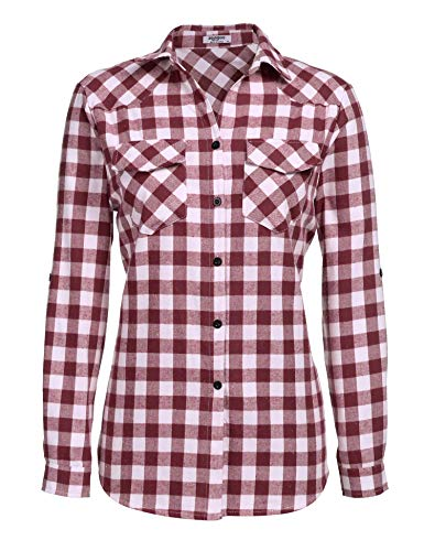 Zeagoo Womens Plaid Flannel Shirt, Roll up Long Sleeve Checkered Cotton Shirt,Wine Red,Small ()