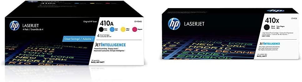 HP 410A | CF410A, CF411A, CF412A, CF413A | 4 Toner Cartridges | Black, Cyan, Magenta, Yellow & 410X | CF410X | Toner Cartridge | Black | High Yield