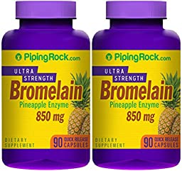 Piping Rock Ultra Strength Bromelain Pineapple Enzyme 850 mg 2 Bottles x 90 Quick Release Capsules Dietary Supplement