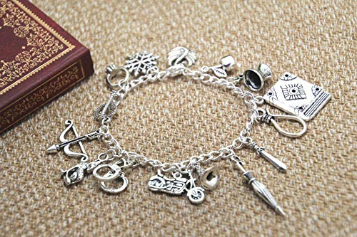 FidgetGear Once Upon a Time Inspired Charm Bracelet, Emma Swan Hook Regina Snow Henry Swan