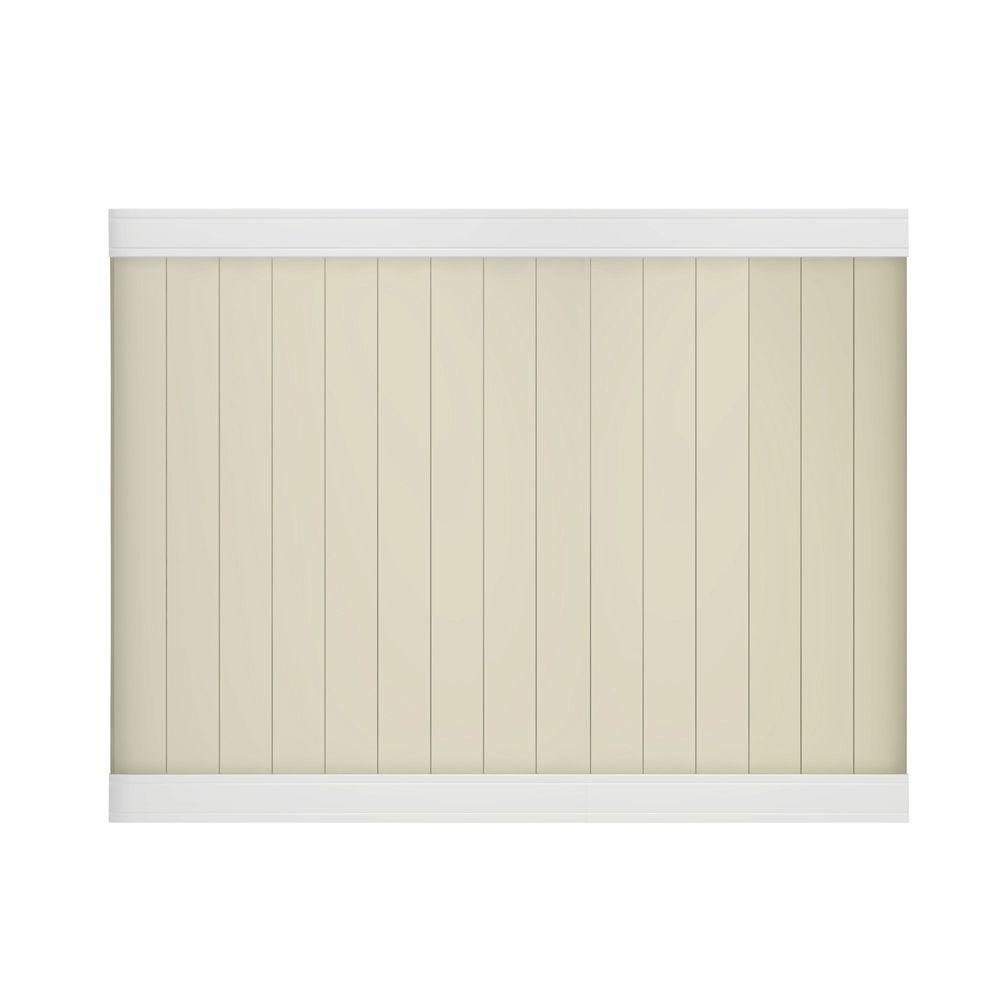 Pro Series 6 ft. x 8 ft. Vinyl White/Beige Woodbridge Privacy Fence Panel - Unassembled